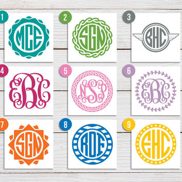 Monogram Sticker - Monogram Decal - Personalized Monogram/Initials - Circle or Script Monogram - Car Decal, Laptop Sticker, Phone Sticker