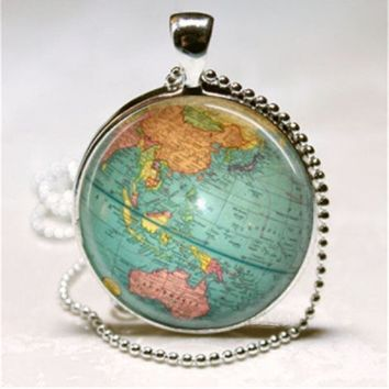 Globe Planet Earth World Map Pendant Necklace