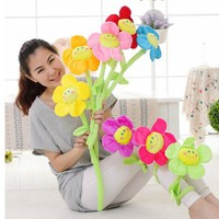 Color cartoon sunflower modeling simulation cloth plush sun flower cartoon smiley sun flower curtain ornaments flower series toy