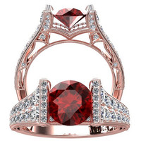 Victorian inspired 14k Rose gold Engagement Ring Diamond Ring 1.25 ct VVS Ruby W24R14R
