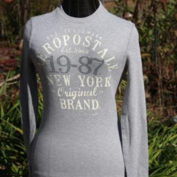 Men's Aeropostale Thermal Graphic Shirt Long Sleeves Grey NY Size SP
