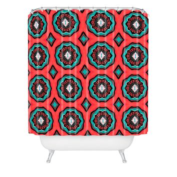 Elisabeth Fredriksson Salty Raspberry Flowers Shower Curtain