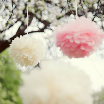 12 LARGE and 6 SMALL Tissue paper POMPOMS - wedding decorations -   - pick your colors from 50 shades - very fluffy