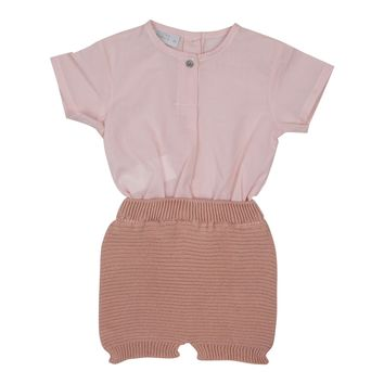 Violeta Baby Girls' Pink Knitted Romper