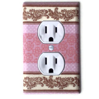 Damask Pink & Tan Nursery Outlet Plate