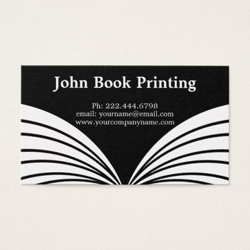 Black & White Book Printing Business Card