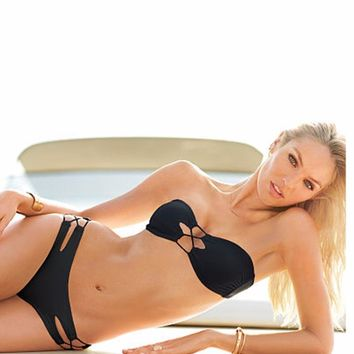 2017 New Swimwear Swimsuits Beach Fringe Split Two Pieces Women Bandage Bikini Black Solid Bikini Tankini Swimming