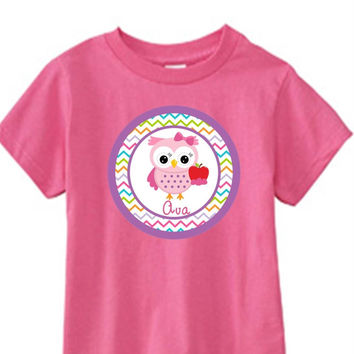 School Owl on Personalized Girl's Pink T-Shirt