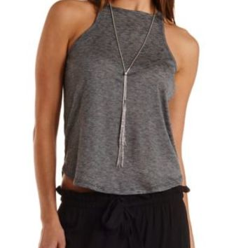 Slub Knit Racer Front Tank Top by Charlotte Russe