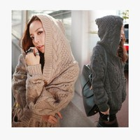 Ladies Sweater Korean Hats With Pocket Twisted Sea Thicken Jacket [22426091546]