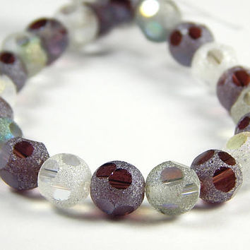 7-3/4 Inch Strand - 8mm Round Purple Mix Frosted Window Cut Glass Beads - Glass Beads - Jewelry Supplies