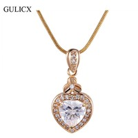 GULICX New Women Heart Pendants 18K White Gold Plated Slide Murano Glass Pendant Druzy Stone Jewelry  with Necklace P007/P008