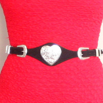 80s HEART CONCHO Belt | Vintage 1980s Black Suede Belt with Silver Hearts | medium