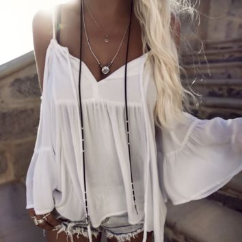 FASHION sexy  straps horn sleeve off shoulder white blouse