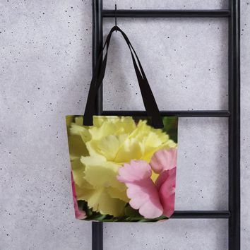 Pink & Yellow Carnation Tote bag