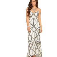 Pre-Order: Zoey- White Art Deco Sequin Prom Dress