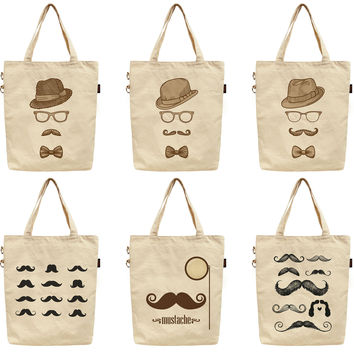 Women Bowler Fedoras Mustache Printed Canvas Tote Shoulder Bag WAS_40
