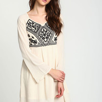 TAUPE EMBROIDERED PLEATED DRESS