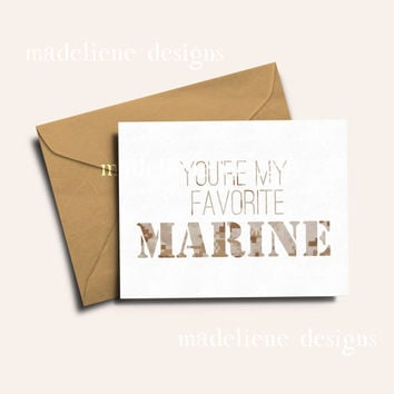 You're My Favorite Marine - Military Greeting Card, Deployment/Basic Training/AIT/BCT Card, Marine Corps Card, Military Care Package Card