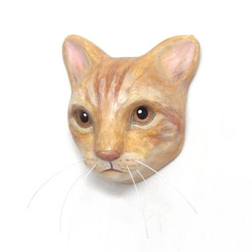 Custom cat portrait / art sculpture, faux taxidermy wall mask