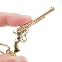 Detailed Gun Pistol Rifle Shaped Pendant Necklace in Gold | DOTOLY