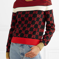 Gucci - Metallic-trimmed intarsia cotton sweater