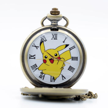 New Fashion Pikachu Game Boy Pokemon Pocket Monsters Quartz Pocket Watch Analog Pendant Necklace Men Women Watches Chain Gift