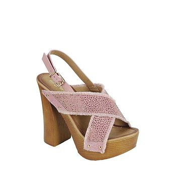 Pinky Retro Platform Criss Cross Sandals