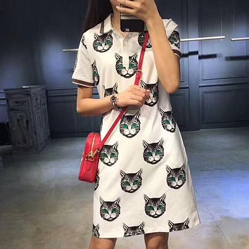 GUCCI Spring Women Full Cat Logo Print Lapel Dress White I-G-JGYF