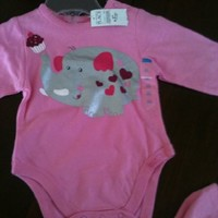 The Children's Place Child Girls Elephant with Cupcake Pink Onesuit Size 0-3 Months ; 7-11 Pounds