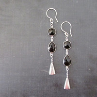Dangle Black Onyx Earrings, Sterling Silver Long Earrings, Women Gemstones Jewelry