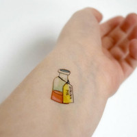 Alice in wonderland temporary tattoo - SET OF TWO - ink, Fandom, Halloween, Drink Me, Tattoo, Alice, Accessories