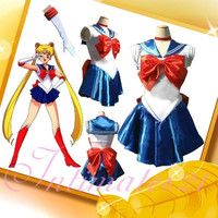 Deluxe Sailor Moon Venus/mars/jupiter/mercury/Tsukino Usagi Costume Cosplay Uniform Fancy party Dress & Gloves = 1958051012