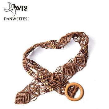 MDIGGB2 [DWTS] Designer belts woman high quality mens belts girls Braided Belt women Candy Skinny cinturones mujer Hand woven rope belt