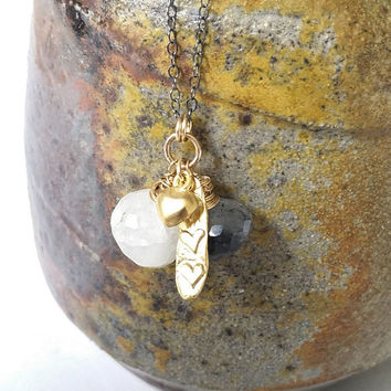 Gold Moonstone Necklace, Moonstone and Tourmalinated Quartz Necklace, Dainty Moonstone Necklace