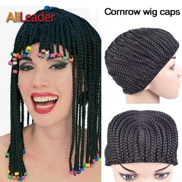 Alileader Top Clip In Cornrow Crochet Braided Wig Cap Good Elastic Medium Size Crochet Wig Cap For Making Wigs Black Color