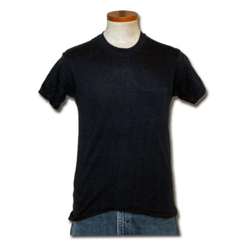 Vintage Amazing 80s PLAIN POCKET Blank Men Women Navy Blue Small Soft Hanes Cotton T-SHIRT