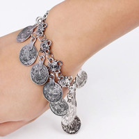 Fashion Turkish Jewelry Bohemian Ethnic Vintage Silver Coin Bracelet Anklet = 1928426948