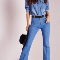 Missguided - Wild Child Pocket Detail 70's Flared Jeans Blue
