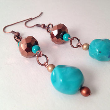 Turquoise and brown beaded dangle handmade earrings