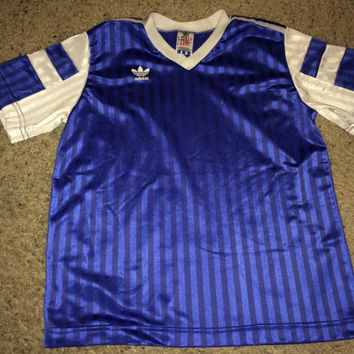 Sale!! Vintage 1980s ADIDAS Polyester blue Active wear Shirt Soccer Jersey Football Made in USA
