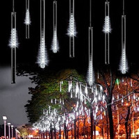 Minger LED Falling Rain Lights with 30cm 8 Tube 144 LEDs, Meteor Shower Lights, Icicle Snow Fall String LED Cascading Lights for Wedding, Party, Holiday, Xmas Decoration (White)