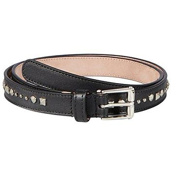 Gucci Women's Black Studded Leather Slim Belt