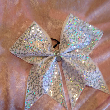 Cheer Bow /White with Iridescent Sequin