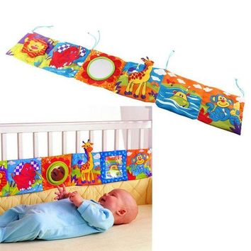 CREYLD1 Baby Toys Baby Crib bumper Baby Cloth Book Baby Rattles Knowledge Around Multi-Touch Colorful Bed Bumper for Kids toys 92*14CM