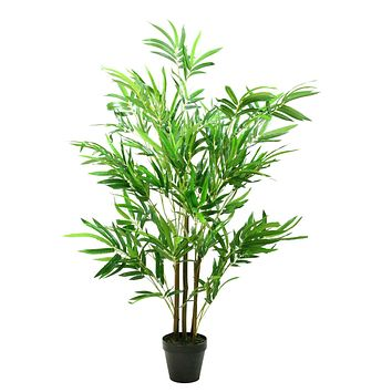 "51.5"" Decorative Potted Artificial Two Tone Green and Brown Bamboo Plant"