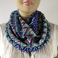 Boho Tribal Infinity Scarf Aztec Printed Blue Red White Infinity Loop Scarf Bohemian Scarf Womens Fashion Accessories