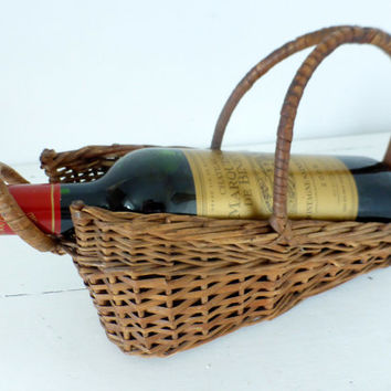 Vintage French Wicker, Wine Basket, Cradle, Pourer, Bottle Holder, Home Decor