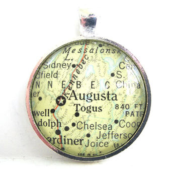 Augusta, Maine, Pendant from Vintage Map, in Glass Tile Circle