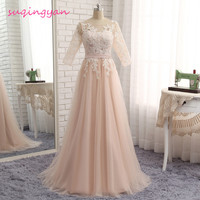 2016 Lace Appliques Evening Dresses Robe De Soiree Half Sleeve Floor Length Tulle Party Gowns Long Formal dress Caftan Abiye